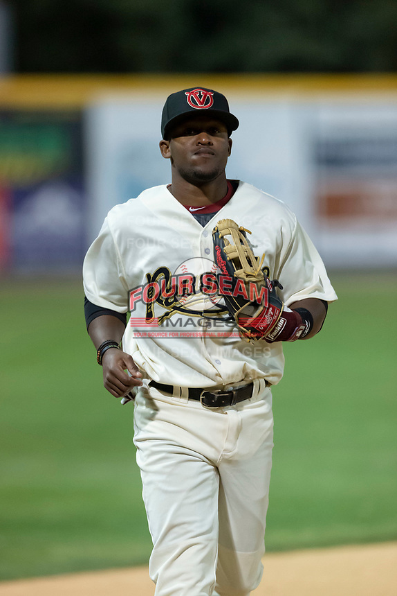 Visalia Rawhide left fielder Luis Alejandro Basabe (5) during a California League game against the Rancho Cucamonga Quakes on April 9, 2019 in Visalia, California. Visalia defeated Rancho Cucamonga 8-5. (Zachary Lucy/Four Seam Images)