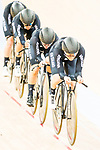 The team of New Zealand with Racquel Sheath, Rushlee Buchanan, Kirstie James and Jaime Nielsen competes in the Women's Team Pursuit - 1st Round as part of the 2017 UCI Track Cycling World Championships on 13 April 2017, in Hong Kong Velodrome, Hong Kong, China. Photo by Marcio Rodrigo Machado / Power Sport Images