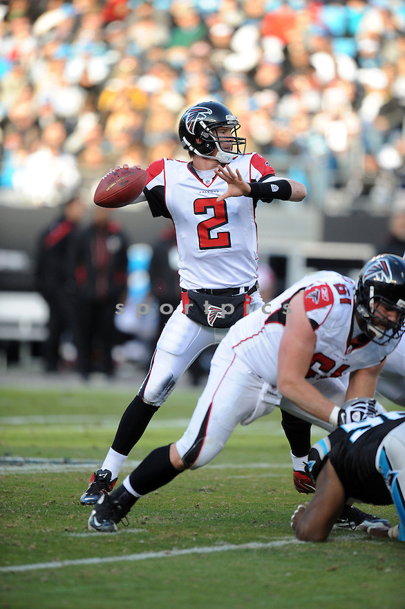 MATT RYAN, of the Atlanta Falcons, in action during the Falcons game against the Carolina Panthers on December 11, 2011 at Bank of America Stadium in Charlotte, NC. Atlanta beat Carolina 31-23.