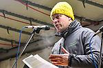 """05.12.2019, Baywa-Gelaende, Memmingen, GER, Bauern-Demonstration in Memmingen, Ueber 4000 Bauern demonstrierten mit fast 3000 Traktoren in Memmingen. Organisiert wurde die Demo von """"Land schafft Verbindung"""". Auf der anschliesenden Kundgebung sprach ua. die bayr. Landwirtschaftsministerin Michaela Kaniber, <br /> im Bild Philipp Jans<br /> <br /> Foto © nordphoto / Hafner"""