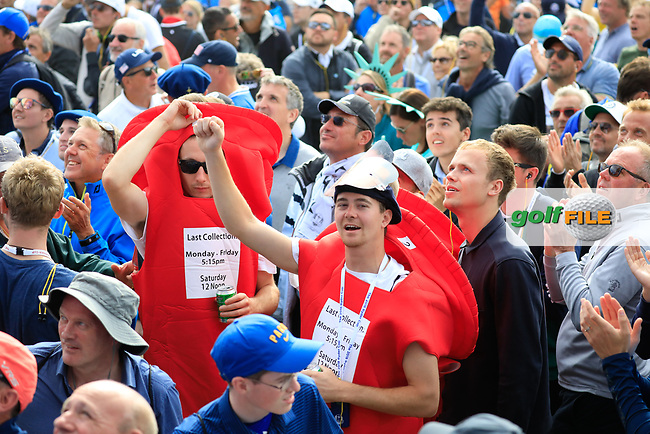 Fans during the sunday singles at the Ryder Cup, Le Golf National, Paris, France. 30/09/2018.<br /> Picture Phil Inglis / Golffile.ie<br /> <br /> All photo usage must carry mandatory copyright credit (© Golffile | Phil Inglis)