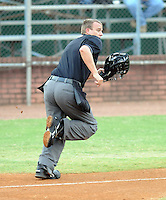 Appalachian League umpire Ron Teague in a game between the Elizabethton Twins and the Bristol White Sox on August 18, 2011, at Joe O'Brien Field in Elizabethton, Tennessee. Elizabethton defeated Bristol, 13-3. (Tom Priddy/Four Seam Images)