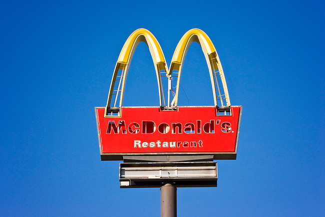 The wind blown McDonald's sign with letters knocked out still standing one year after Hurricane Katrina on South Claiborne in New Orleans, Louisiana.