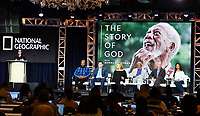 PASADENA, CA - FEBRUARY 10:  Courteney Monroe, President of National Geographic Global Networks, Sal Maskela, Eddy Robinson, Lori McCreary, Morgan Freeman, James Younger and Nelufar Hedayat attend The Story of God panel at the 2019 National Geographic portion of the Television Critics Association Winter Press Tour at The Langham Huntington Hotel on February 10, 2019 in Pasadena, California. (Photo by Vince Bucci/National Geographic/PictureGroup)