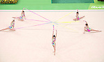 Spain team group (ESP),<br /> AUGUST 20, 2016 - Rhythmic Gymnastics :<br /> Group All-Around Qualification, Rotation 1 Ribon at Rio Olympic Arena during the Rio 2016 Olympic Games in Rio de Janeiro, Brazil. (Photo by Enrico Calderoni/AFLO SPORT)