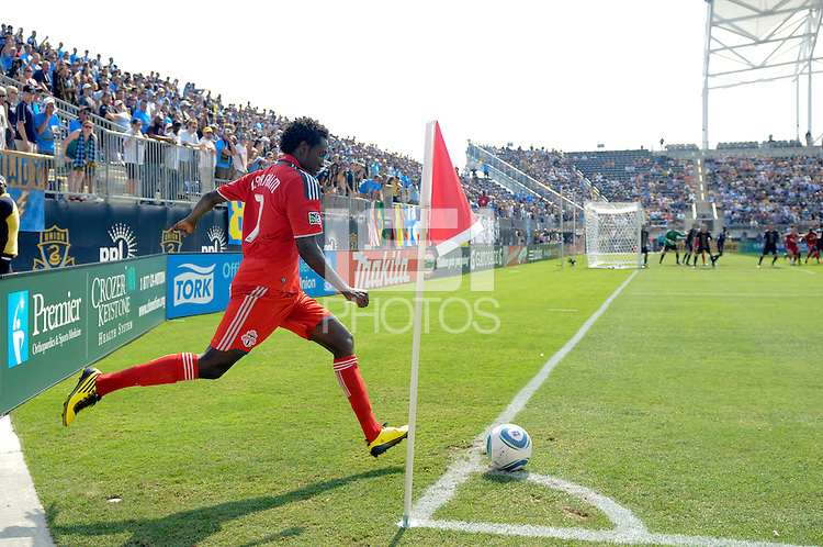 Fuad Ibrahim (7) of Toronto FC takes a corner kick. The Philadelphia Union defeated Toronto FC 2-1 on a second half stoppage time goal during a Major League Soccer (MLS) match at PPL Park in Chester, PA, on July 17, 2010.