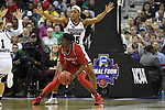 COLUMBUS, OH - MARCH 30: Jazmine Jones #23 of the Louisville Cardinals looks for an open pass as Victoria Vivians #35 of the Mississippi State Bulldogs  defends during a semifinal game of the 2018 NCAA Division I Women's Basketball Final Four at Nationwide Arena in Columbus, Ohio. (Photo by Justin Tafoya/NCAA Photos via Getty Images)