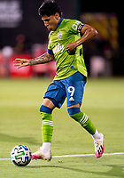 10th July 2020, Orlando, Florida, USA;  Seattle Sounders forward Raul Ruidiaz (9) passes the ball During the MLS Is Back Tournament between the Seattle Sounders v San Jose Earthquakes on July 10, 2020 at the ESPN Wide World of Sports, Lake Buena Vista FL.