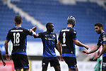Jubel ueber das 1:1: v.l. Torschuetze Dennis Srbeny (SC Paderborn),  Christopher Antwi-Adjei (SC Paderborn), Klaus Gjasula (SC Paderborn),Sebastian Vasiliadis (SC Paderborn)<br />