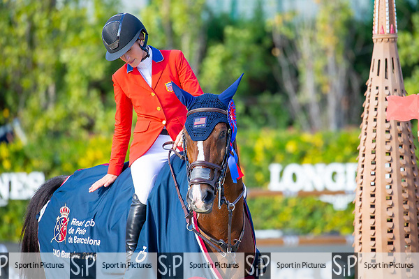 Winner. Jessica Springsteen. USA. Riding RMF Swinny Du Parc.  Prizegiving. Queen's Cup. Longines FEI Jumping Nations Cup Final. Showjumping. Barcelona. Spain. Day 2.06/10/2018. ~ MANDATORY Credit Elli Birch/Sportinpictures - NO UNAUTHORISED USE - 07837 394578