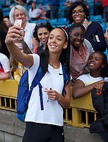 Katerina Johnson-Thompson after competing in the women's Long Jump during the Muller Grand Prix  IAAF Diamond League meeting at Alexander Stadium, Perry Barr, Birmingham.<br /> Picture by Alan Stanford +44 7915 056117<br /> 18/08/2018