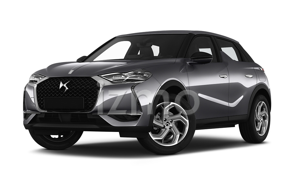 Stock pictures of low aggressive front three quarter view of a 2019 DS DS 3 Crossback Grand Chic 5 Door SUV