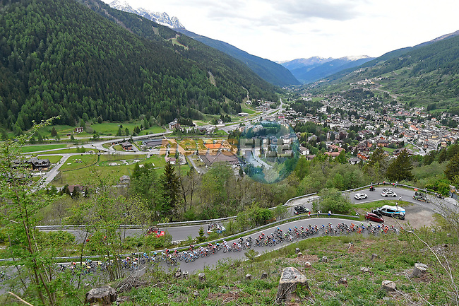 The peloton in action during Stage 17 of the 100th edition of the Giro d'Italia 2017, running 219km from Tirano to Canazei, Italy. 24th May 2017.<br /> Picture: LaPresse/Fabio Ferrari   Cyclefile<br /> <br /> <br /> All photos usage must carry mandatory copyright credit (&copy; Cyclefile   LaPresse/Fabio Ferrari)