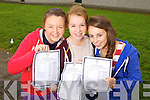 Junior Cert students from Mercy Mounthawk Secondary collecting their results on Wednesday, from left: Aoife Fitzgerald (Ardfert), Aoife Crowley (the Spa) and Aisling O'Sullivan (Ardfert)..