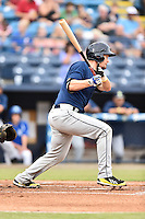 Columbia Fireflies catcher Patrick Mazeika (2) swings at a pitch during a game against the Asheville Tourists at McCormick Field on August 17, 2016 in Asheville, North Carolina. The Tourists defeated the Fireflies 7-6. (Tony Farlow/Four Seam Images)