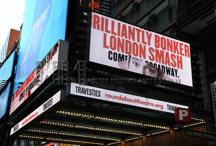 "Theatre Marquee for ""Travesties"" starring Tom Hollander on March 6, 2018 at the Roundabout Theatre in New York City."