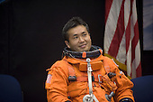 Houston, TX - (FILE) -- File photo from July 16, 2008. Attired in a training version of his shuttle launch and entry suit, Japan Aerospace Exploration Agency astronaut Koichi Wakata, Expedition 18 flight engineer, awaits the start of a training session in the Space Vehicle Mockup Facility at NASA's Johnson Space Center..Credit: NASA via CNP