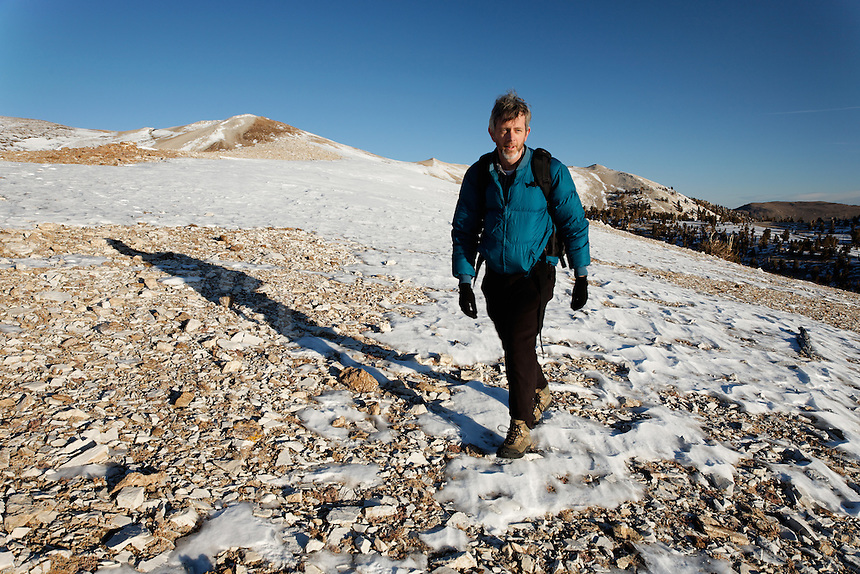 Male hiker in White Mountians, Inyo National Forest, White Mountains, California, USA