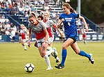 Steiner, Brittain_W1_1249<br /> <br /> BYU's Brittain Steiner drives the ball past Ohio State's Sarah Roberts. The game between BYU and Ohio State ended in a scoreless draw at South Field on August 21, 2017.<br /> <br /> 17wSOC vs Ohio State<br /> <br /> August 21, 2017<br /> <br /> Photo by Jaren Wilkey/BYU<br /> <br /> © BYU PHOTO 2017<br /> All Rights Reserved<br /> photo@byu.edu  (801)422-7322