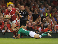 Wales Owen Lane is tackled by Ireland's Dave Kearney<br /> <br /> Photographer Ian Cook/CameraSport<br /> <br /> 2019 Under Armour Summer Series - Wales v Ireland - Saturday 31st August 2019 - Principality Stadium - Cardifff<br /> <br /> World Copyright © 2019 CameraSport. All rights reserved. 43 Linden Ave. Countesthorpe. Leicester. England. LE8 5PG - Tel: +44 (0) 116 277 4147 - admin@camerasport.com - www.camerasport.com