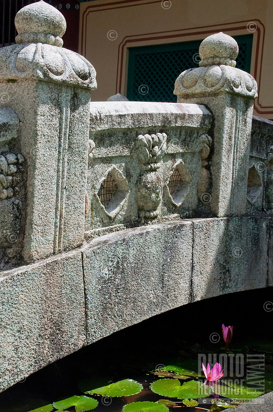 A section of bridge at Mu-Ryang-Sa (or Broken Ridge Temple), a Korean Buddhist temple in Palolo Valley, Honolulu, O'ahu, whose offerings include Buddhist teachings and meditation.
