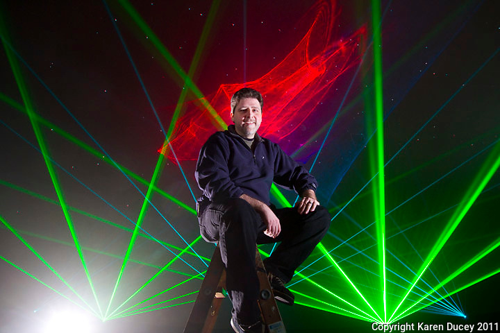 Laser light artist, John Borcherding, poses for a portrait at the Pacific Science Center on January 27, 2011. (photo credit Karen Ducey)