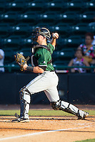 Augusta GreenJackets catcher Tyler Ross (26) makes a throw to second base against the Hickory Crawdads at L.P. Frans Stadium on May 11, 2014 in Hickory, North Carolina.  The GreenJackets defeated the Crawdads 9-4.  (Brian Westerholt/Four Seam Images)