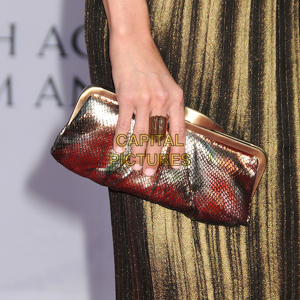 Kristin Chenoweth's bag .BAFTA Brits to Watch Event held at the Belasco Theatre, Los Angeles, California, USA, 9th July 2011..detail hand  ring clutch bag  gold .CAP/ADM/BP.©Byron Purvis/AdMedia/Capital Pictures.
