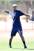 Jake Gatewood #18 of the AZL Brewers works out at the Maryvale Baseball Complex on July 7, 2014 in Phoenix, Arizona. (Larry Goren/Four Seam Images)