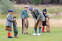 Paul Eales and caddies Flora, Fergus and Magnus Lawson at the hickory challenge ahead of the  Scottish Senior Open Championship, Craigielaw Golf Club, East Lothian, Scotland. 13/09/2018.<br /> Picture Fran Caffrey / Golffile.ie<br /> <br /> All photo usage must carry mandatory copyright credit (© Golffile | Fran Caffrey)