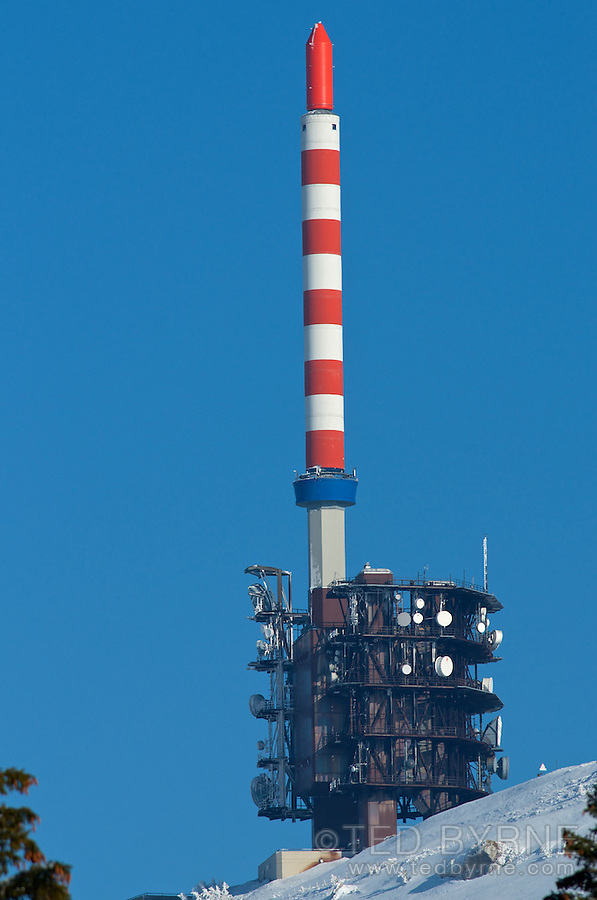 Chasseral communications tower on a clear winter day