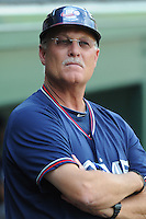 Manager Randy Ingle 12) of the Rome Braves, an Atlanta Braves affiliate, in a game against the Greenville Drive on May 6, 2012, at Fluor Field at the West End in Greenville, South Carolina. Greenville won, 11-3. (Tom Priddy/Four Seam Images)