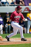 South Carolina first baseman Justin Smoak (12) follows through on his swing versus LSU at Sarge Frye Stadium in Columbia, SC, Thursday, March 18, 2007.