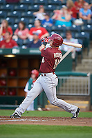 Frisco RoughRiders shortstop Drew Robinson (16) hits a home run during a game against the Springfield Cardinals on June 3, 2015 at Hammons Field in Springfield, Missouri.  Springfield defeated Frisco 7-2.  (Mike Janes/Four Seam Images)