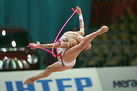 "Evgenia Kanaeva of Russia split leaps with rope at 2008 World Cup Kiev, ""Deriugina Cup"" in Kiev, Ukraine on March 22, 2008."