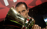 Football Soccer - Juventus - Lazio - Italian Cup Final - Olympic Stadium, Rome, Italy, May17,2017.<br /> Juventus' coach Massimiliano Allegri celebrates with the trophy after winning the Italian Cup Final match at Rome's Olympic stadium, on May 17,2017.<br /> UPDATE IMAGES PRESS/Isabella Bonotto