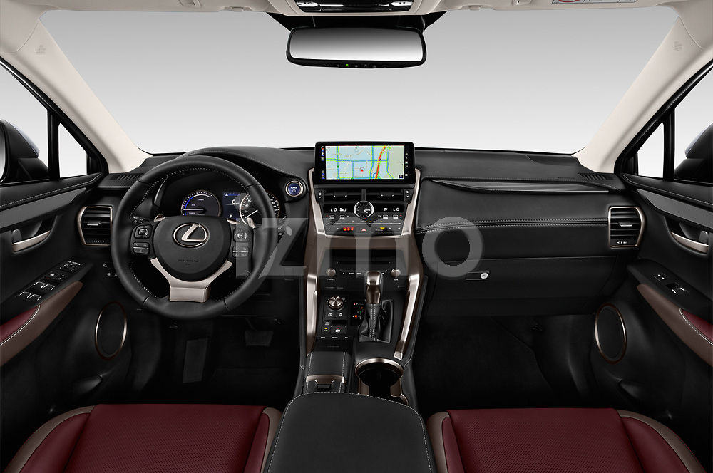 Stock photo of straight dashboard view of 2019 Lexus NX 300h 5 Door SUV Dashboard