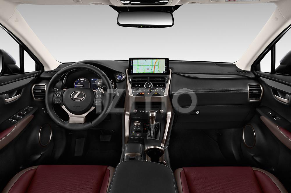 Stock photo of straight dashboard view of 2020 Lexus NX 300h 5 Door SUV Dashboard