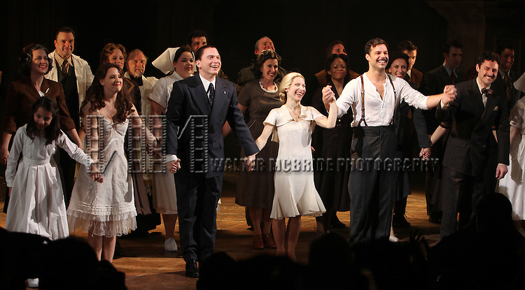 .during the first preview Curtain Call for the Broadway Revival of 'Evita' at the Marquis Theatre on March 12, 2012 in New York City.