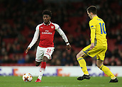 7th December 2017, Emirates Stadium, London, England; UEFA Europa League football, Arsenal versus BATE Borisov; Ainsley Maitland-Niles of Arsenal on the ball with Mirko Ivanic of BATE Borisov marking