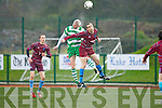 David Hayes Killarney Celtic heads clear against Rockmount during their cup clash in Killarney on Sunday