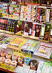 Traditional Japanese confectionery, Yatsuhashi triangles and Omochi or Mochi sweets on a store display in Kyoto, Japan 2017