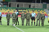 BUCARAMANGA - COLOMBIA, 06-10-2019: Homenaje a las fuerzas militares de Colombia previo al partido por la fecha 15 entre Atletico Bucaramanga y Atletico Medellín de la Liga Águila II 2019 jugado en el estadio Alfonso López de la ciudad de Bucaramanga. / Tribute to the military forces prior the match for the date 15 between Atletico Bucaramanga and Deportivo Independiente Medellin of the Aguila League II 2019 played at Alfonso Lopez stadium in Bucaramanga city. Photo: VizzorImage / Oscar Martinez / Cont