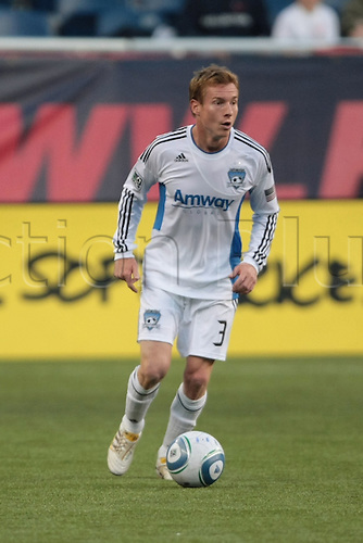 15 MAY 2010:  San Jose Earthquakes' Chris Leitch (3). The New England Revolution and the San Jose Earthquakes played to a scoreless draw in a regular season Major League Soccer match at Gillette Stadium in Foxborough, Massachusetts on May 15, 2010.