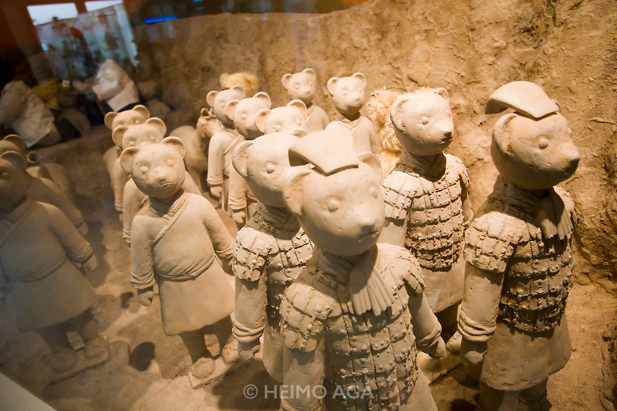 """Jeju Island. Jungmun Tourist Complex. Teddybear Museum. """"Terrakotta army"""" display."""