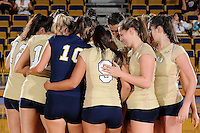 27 September 2008:  FIU's volleyball team meets on the court prior to the FIU 3-0 (25-13, 25-23, 25-18) victory in straight sets over Troy at Golden Panther Arena in Miami, Florida.