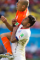 Arjen Robben (NED), Gonzalo Jara (CHI), JUNE 23, 2014 - Football / Soccer : FIFA World Cup Brazil 2014 Group B match between Netherlands 2-0 Chile at Arena de Sao Paulo Stadium in Sao Paulo, Brazil. (Photo by Maurizio Borsari/AFLO)