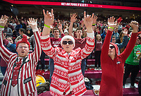 NWA Democrat-Gazette/BEN GOFF @NWABENGOFF<br /> Matthew Mann (from left) of Farmington, Cody Parrish of Farmington and Nick Lange of Dallas cheer in the student section Saturday, Dec. 8, 2018, before the Arkansas vs Western Kentucky basketball game at Bud Walton Arena in Fayetteville.