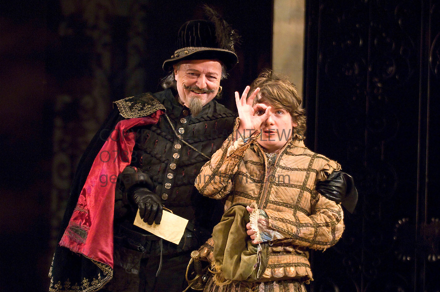 Love Labour's Lost by William Shakespeare, directed by Sir Peter Hall. With Peter Bowles as Don Armado ,Kevin Trainor as Moth. Opens at The Rose Theatre,Kingston on 28/10/08. CREDIT Geraint Lewis