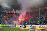 04.11.2018, Borussia Park , Moenchengladbach, GER, 1. FBL,  Borussia Moenchengladbach vs. Fortuna Duesseldorf,<br />  <br /> DFL regulations prohibit any use of photographs as image sequences and/or quasi-video<br /> <br /> im Bild / picture shows: <br /> Pyrotechnik, Feuerwerk, Rauch, Gefahr, Feuer, Leuchtfeuer, Kurve    D&uuml;sseldorf <br /> <br /> Foto &copy; nordphoto / Meuter